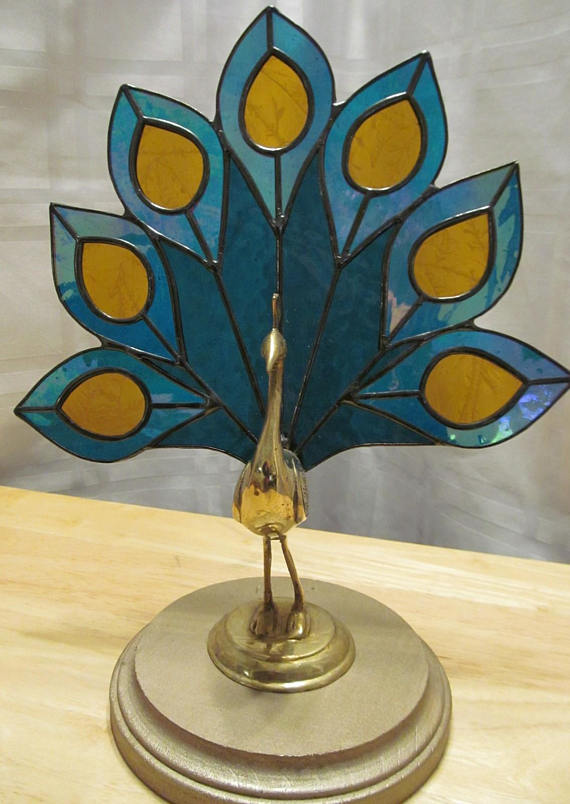 Stained Glass Peacock Figure