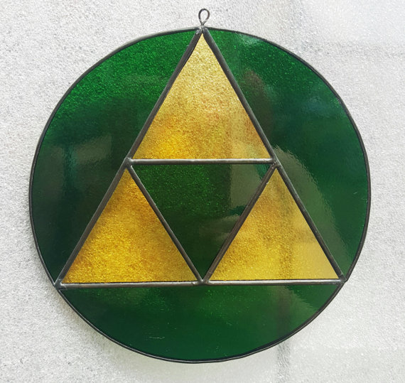 Zelda TriForce Fan Based Stained Gla