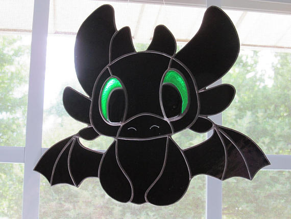 Toothless Stained Glass Suncatcher F