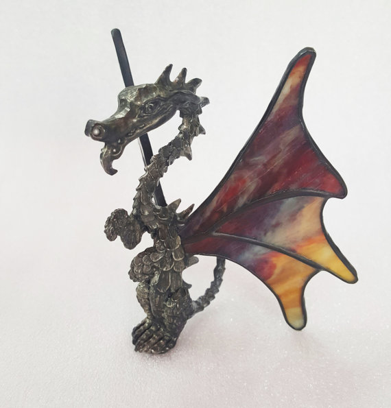 Dragon Stained Glass & Metal Figure