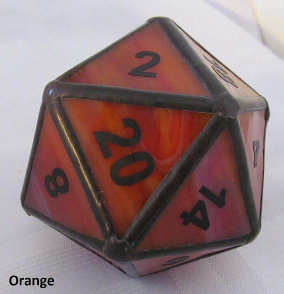 3 Dimensional D20 Dice Stained Glass