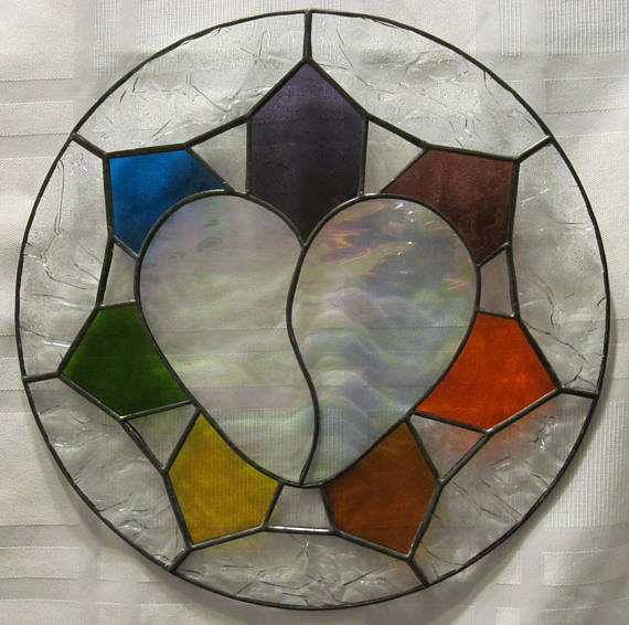 Broken Heart Stained Glass Suncatche