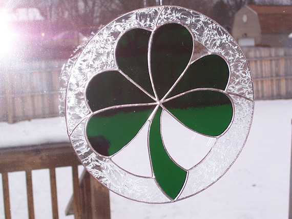 Lucky Irish Shamrock Stained Glass S