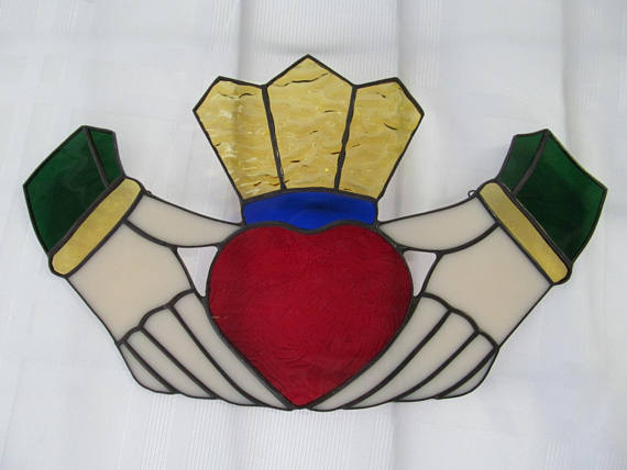 Celtic Claddagh Stained Glass Suncat