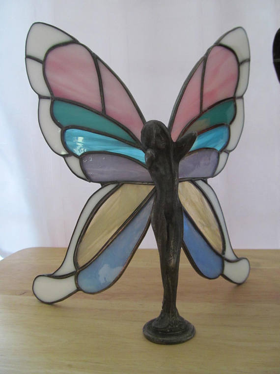 Butterfly Fairy Stained Glass Figure