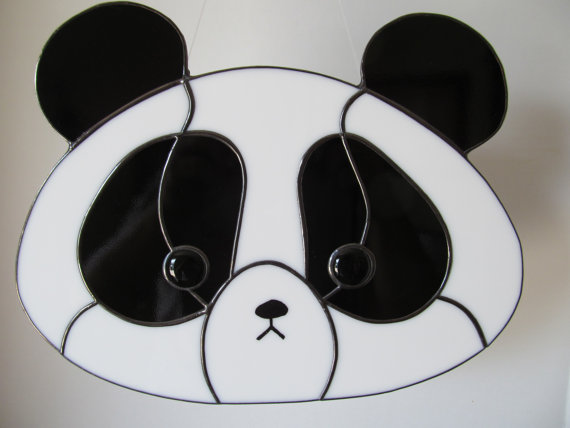 Panda Stained Glass Suncatcher