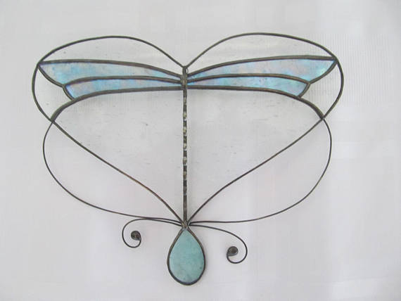 Stained Glass Dragonfly Heart Suncat