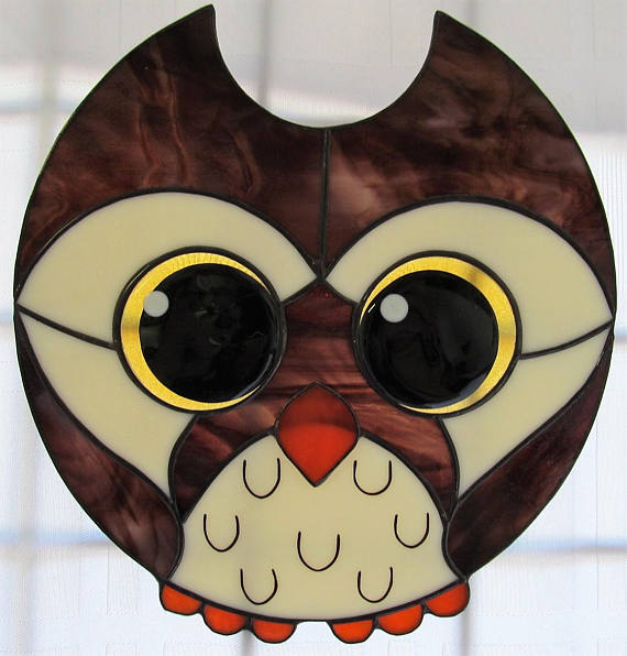 Fat Chibi Owl Stained Glass Suncatch