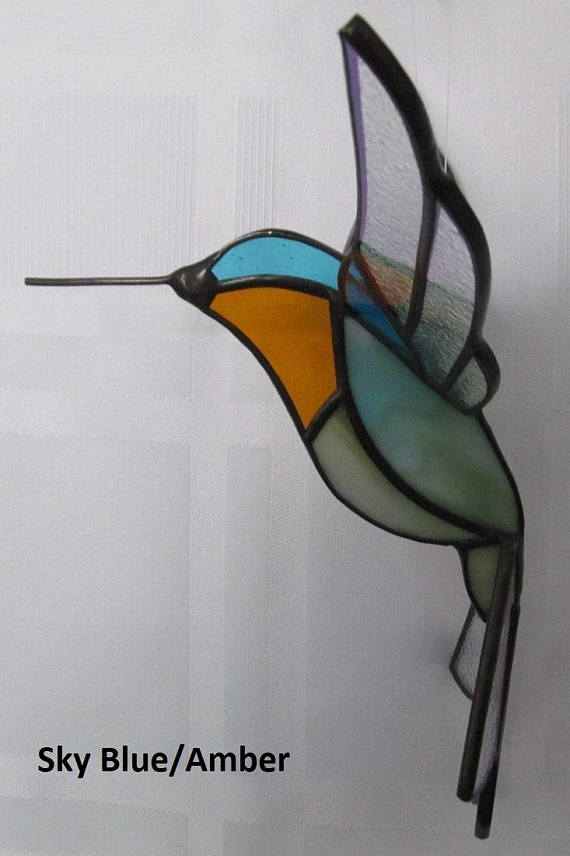 Stained Glass 3D Hummingbird Suncatc