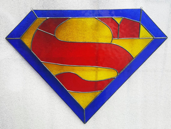 SuperMan Fan Based Stained Glass Sun