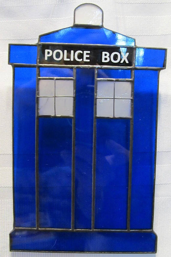 Baby Police Box Stained Glass Suncat