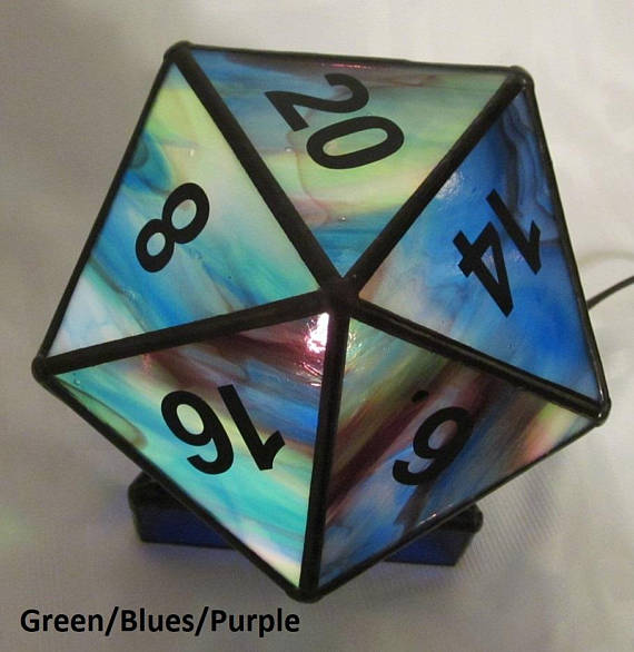 D20 Stained Glass Night Light