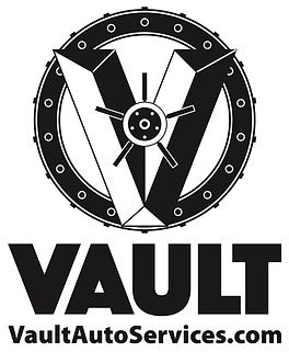 VAULT logo BW only - no shading - with other lettering - Version 2 with website instead -