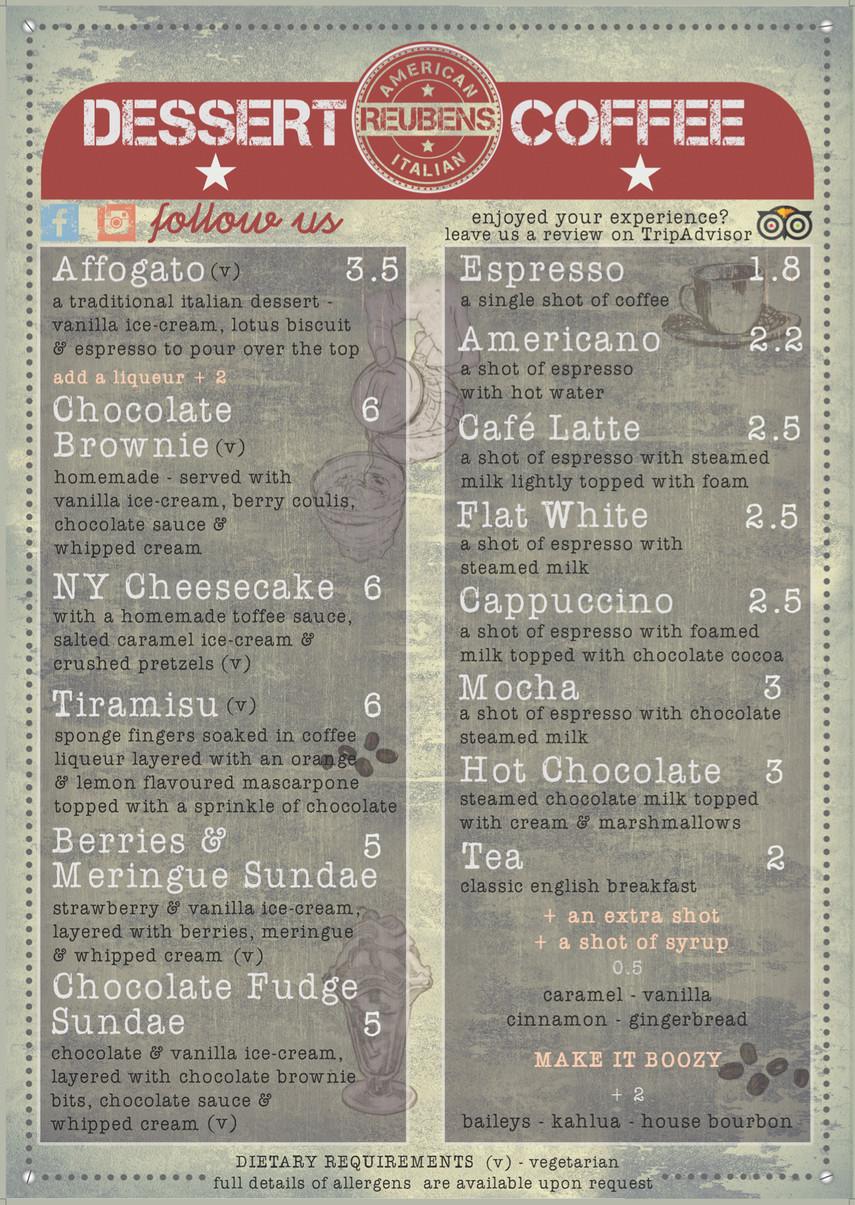 American Italian Dessert Menu