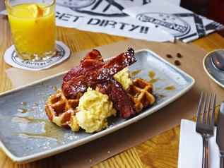 Bacon, Egg & Maple Syrup Waffle