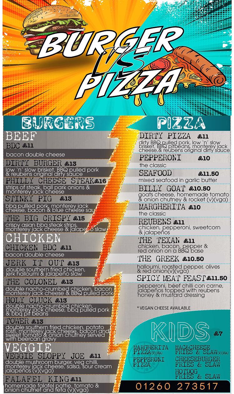 Reubens Burger vs pizza night - Menu - F
