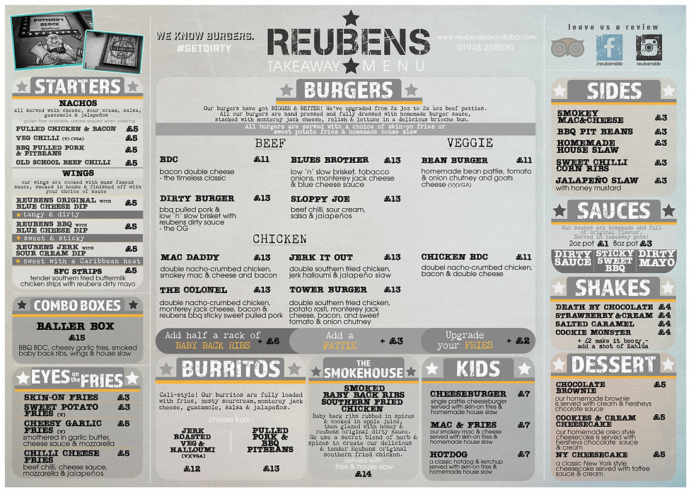 REUBENS Menu Whitchurch Takeaway 7th Jan