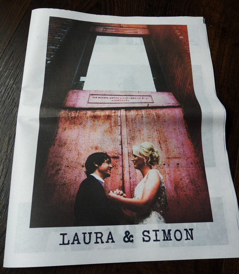 Industrial Wedding Photo Keepsake Newspaper