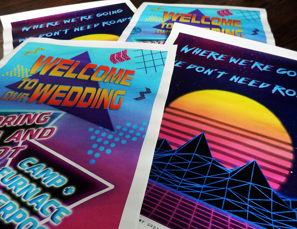 1980s 80s themed wedding stationery invitation back to the future outrun newspaper