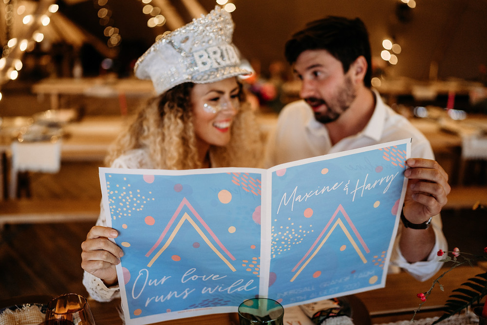 Modern boho tipi festival wedding inspiration and wedding stationery newspaper