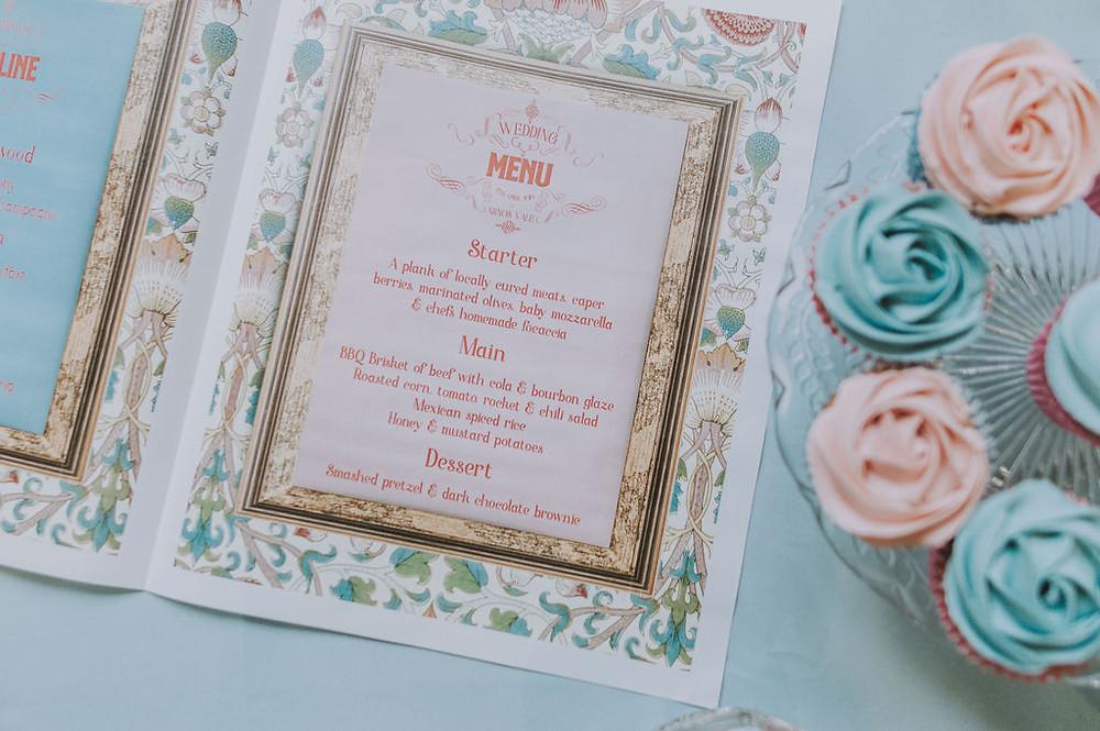 Wes Anderson Wedding Menu on the day wedding stationery newspaper