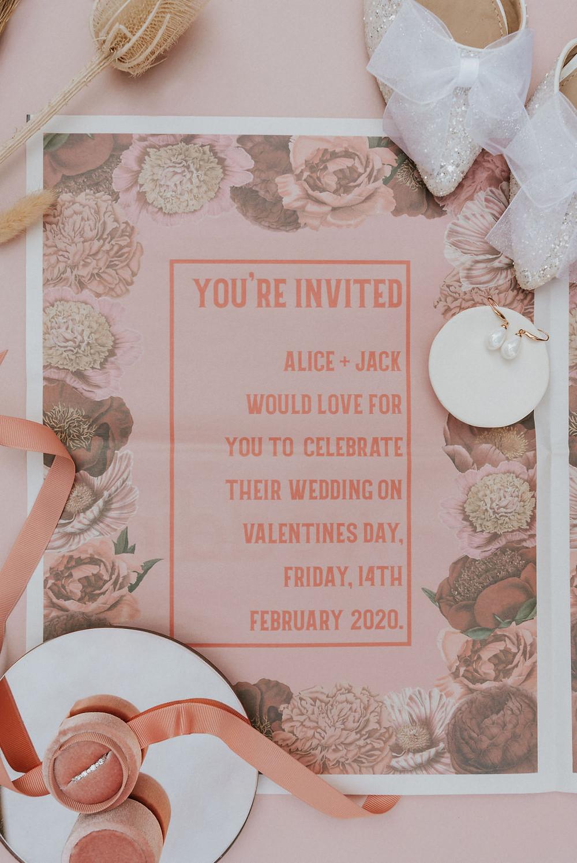 Valentines day Wedding invitation stationery newspaper