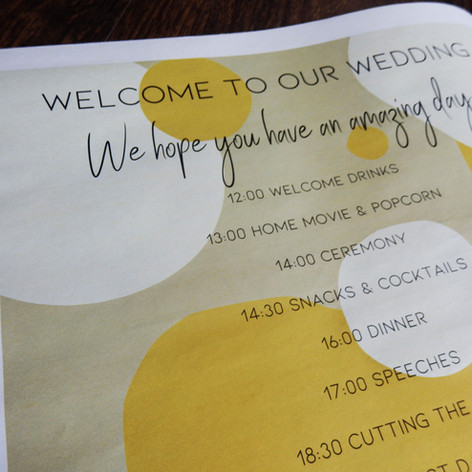 Modern Kraft and Mustard Abstract Wedding + Civil Partnership Order of Service Newspaper | Alternative Wedding Stationery Newspapers