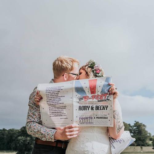 Festival Wedding Order of Service Newspaper at Jervaulx Abbey