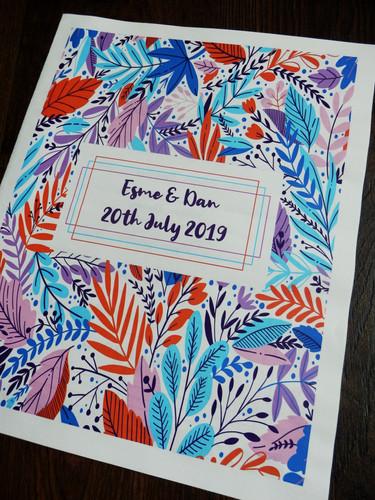 Bright and abstract Wedding + Civil Partnership Invitation Newspaper