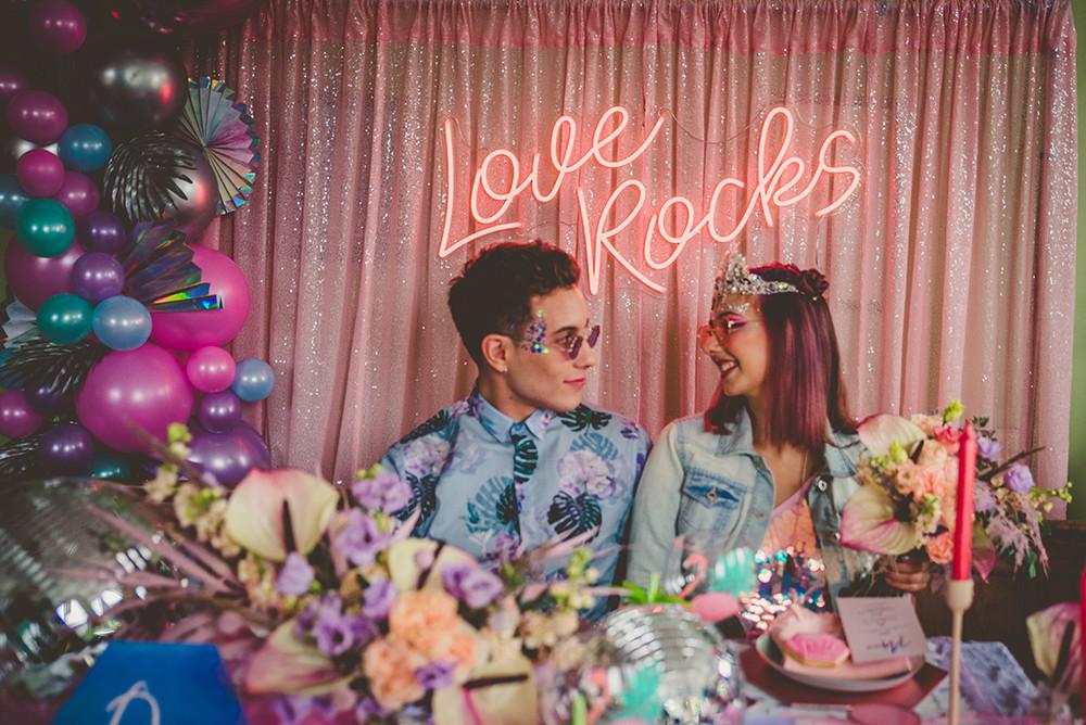 Coachella Pastel Neon Palm Leaves Disco Wedding Inspiration