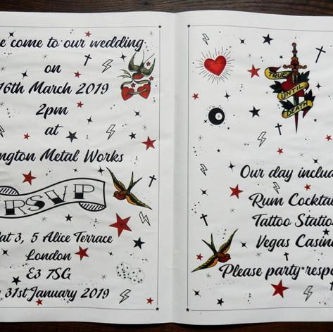 Tattoo + Rockabilly themed Wedding + Civil Partnership Newspaper | Alternative Wedding Stationery Newspapers