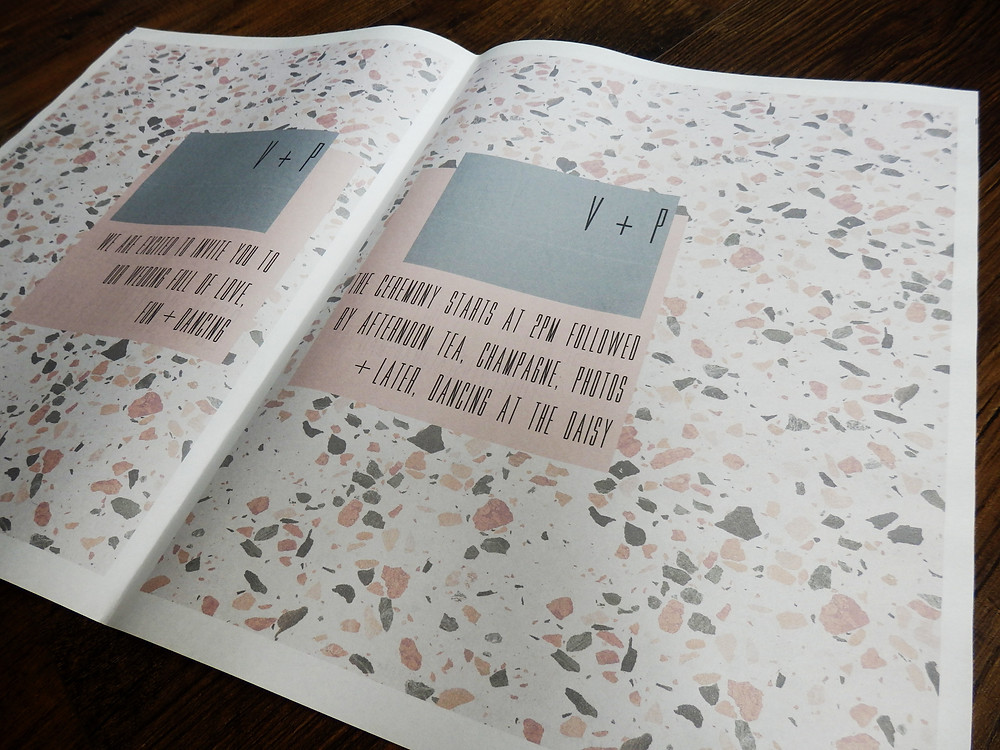 Pink grey cream terrazzo wedding invite stationery newspaper Victoria Baths Manchester