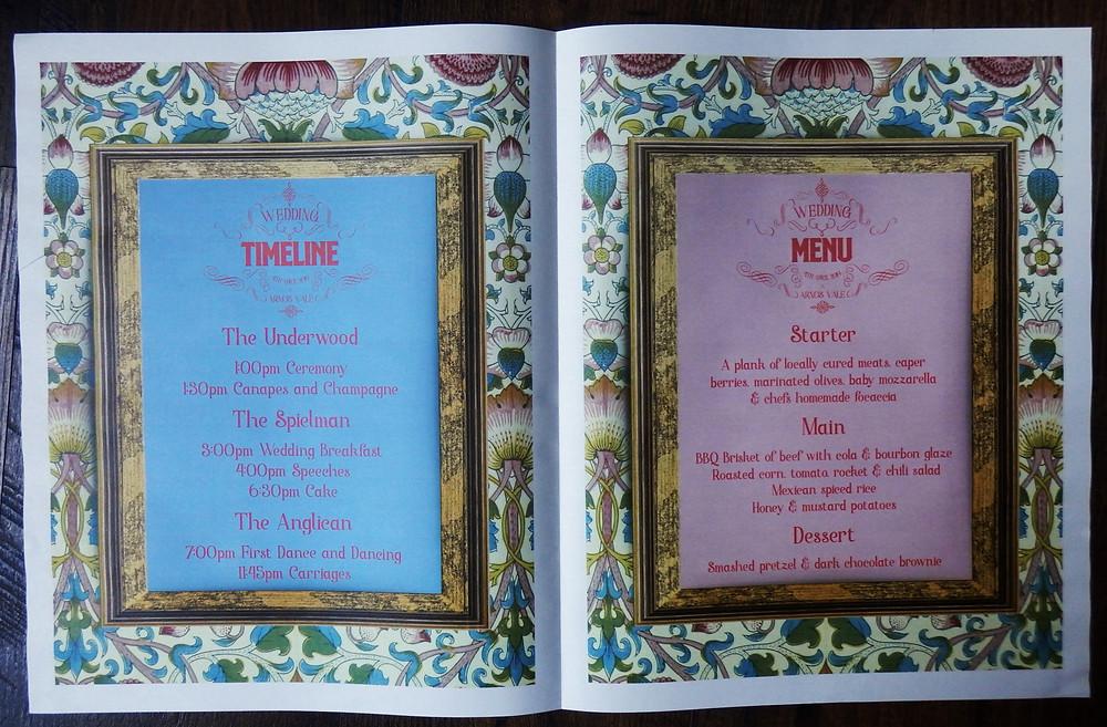 Wes Anderson themed alternative Wedding Timeline and Menu Order of Service Menu