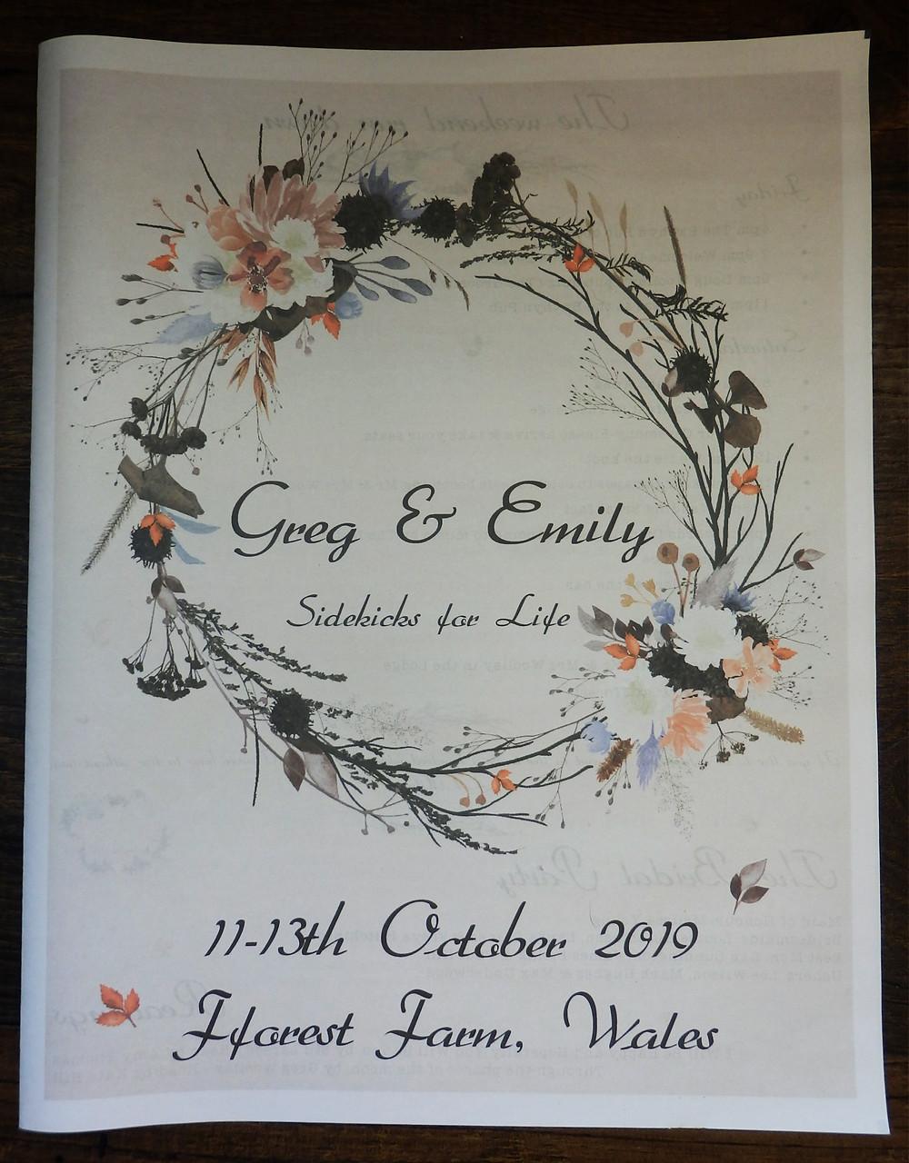 Fforest Farm Wales Autumn Tipi Festival weekend Wedding Program Programme stationery newspaper