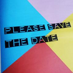 Colour block Wedding or Civil Partnership Save the Date Newspaper   Alternative Wedding Stationery Newspapers