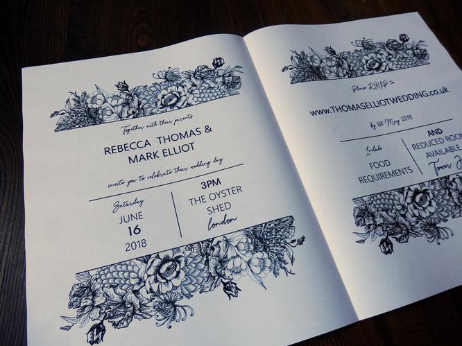 Botanical Wedding Invite Newspaper