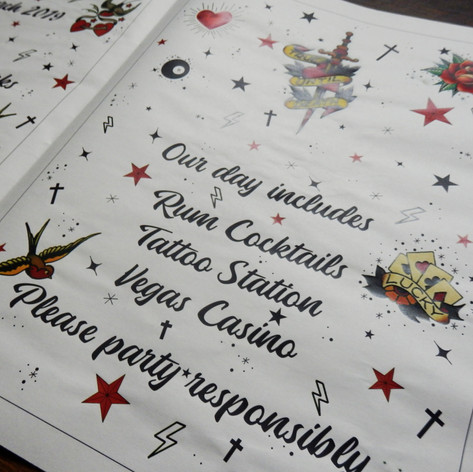 Tattoo themed Wedding + Civil Partnership Order of Service Newspaper | Alternative Wedding Stationery Newspapers