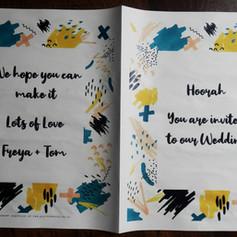 Colourful doodles Wedding Invite Newspaper | Alternative Wedding Stationery Newspapers