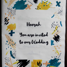 Colourful doodles Wedding + Civil Partnership Invite Newspaper | Alternative Wedding Stationery Newspapers