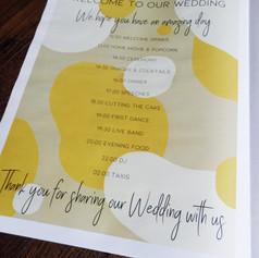 Modern Kraft and Mustard Abstract Wedding + Civil Partnership Order of Service Newspaper