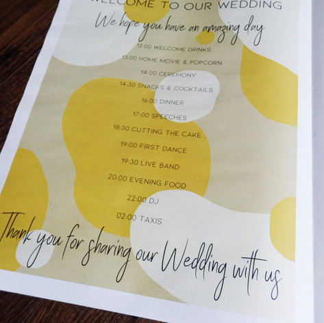 Modern Kraft and Mustard Abstract Wedding + Civil Partnership Order of Service Newspaper
