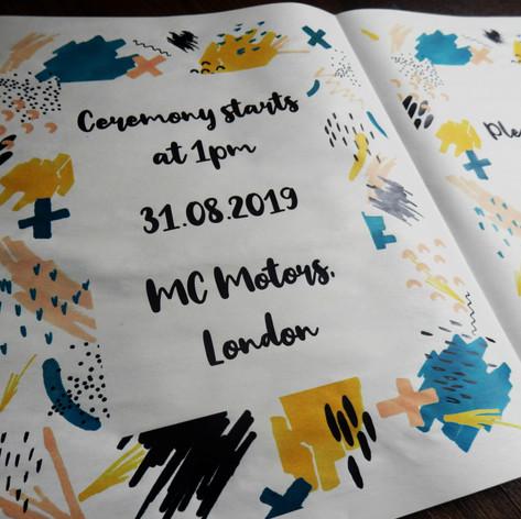 Colourful doodles Wedding + Civil Partnership Invite Newspaper   Alternative Wedding Stationery Newspapers