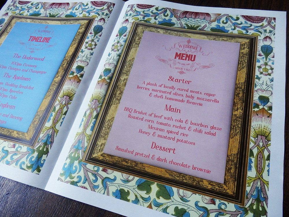 Wes Anderson themed wedding order of service timeline menu stationery newspaper