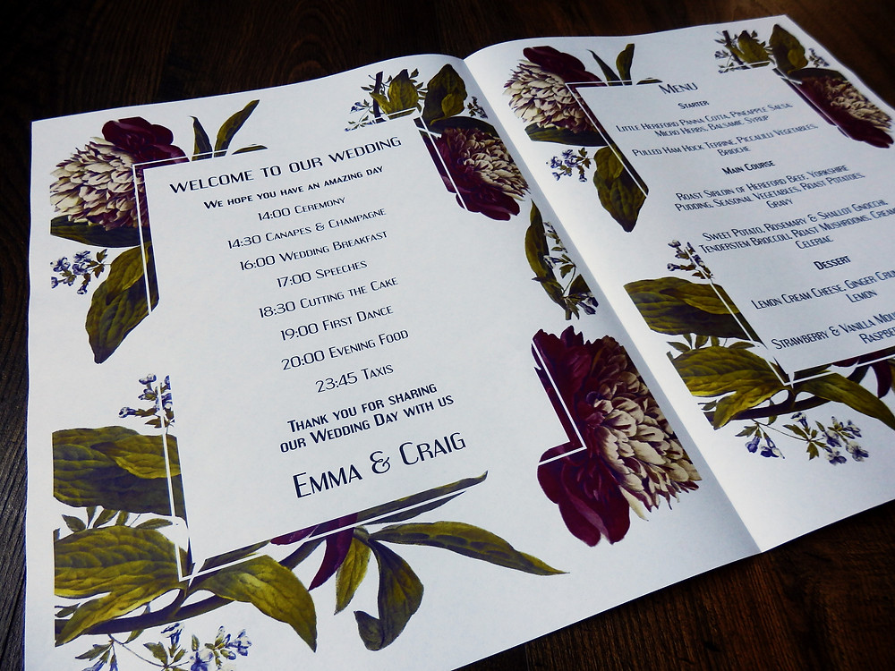 Modern vintage flower wedding order of service program timeline menu stationery newspaper