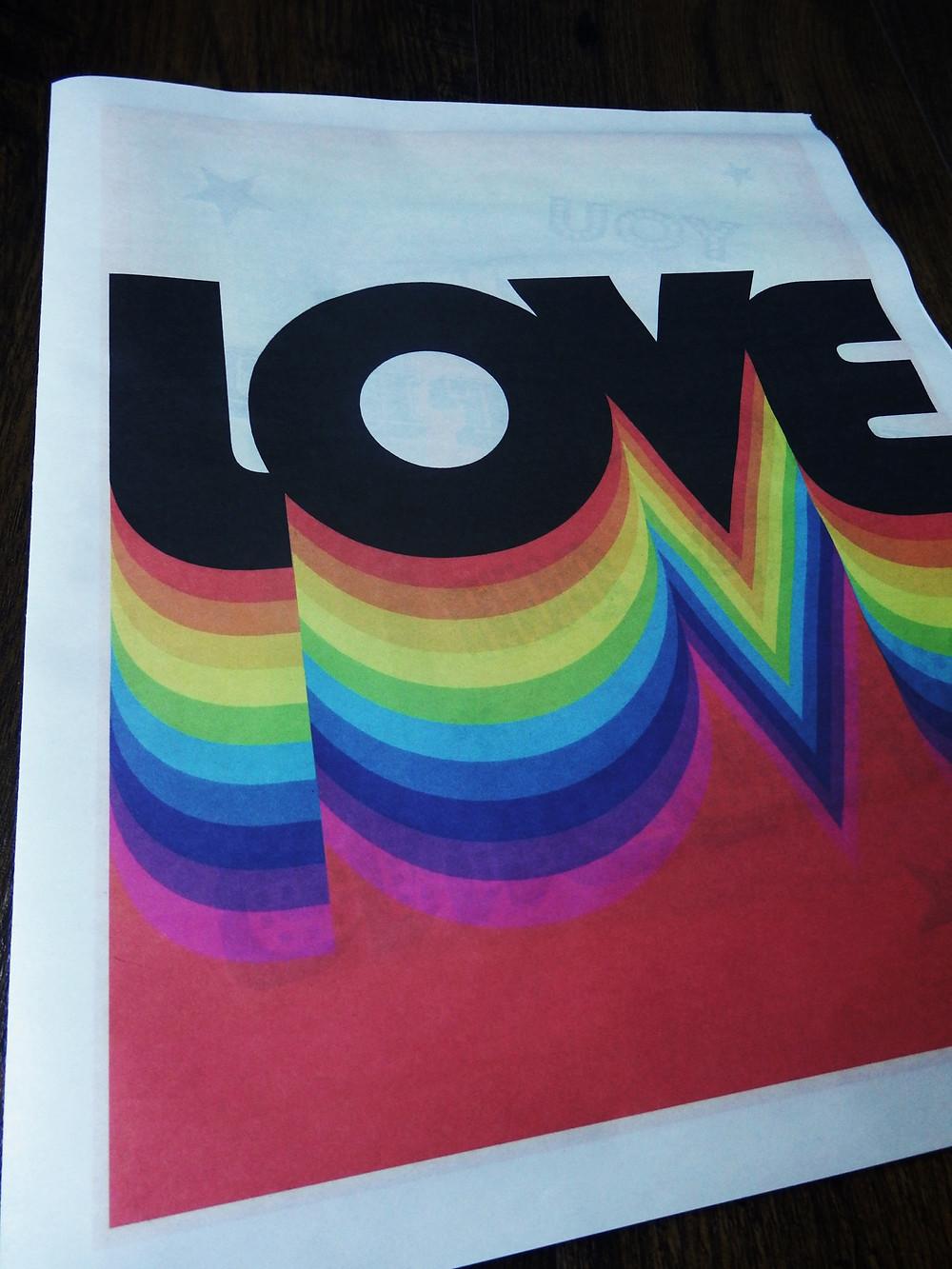 Colourful rainbow love gay lesbian LGBTQ civil partnership Brighton wedding invite stationery newspaper