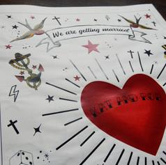 Tattoo themed Wedding + Civil Partnership Order of Service Newspaper | Alternative Wedding Stationery Newspapers