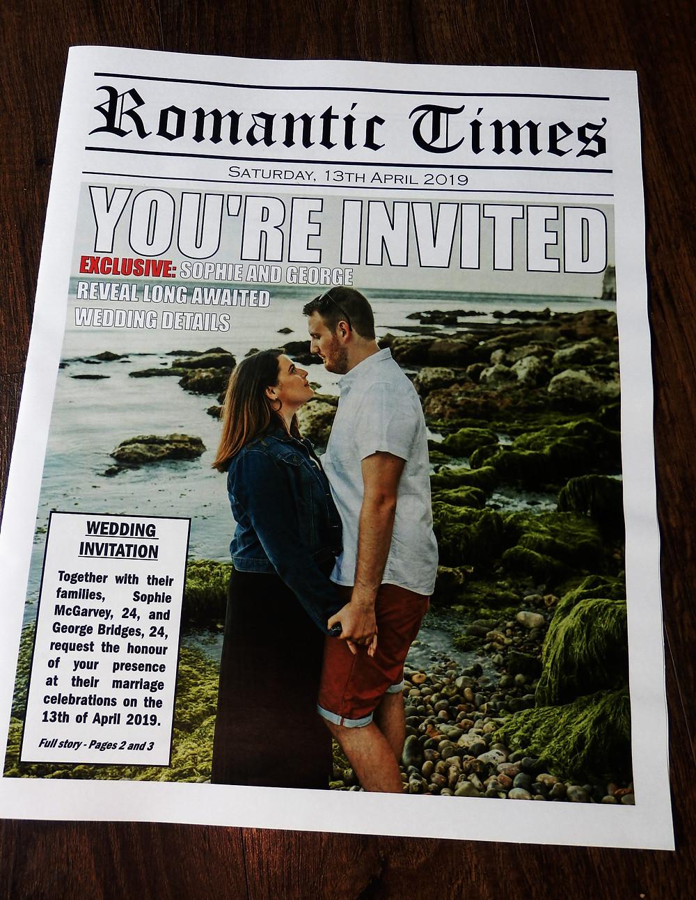 Somerset Wedding Newspaper invitation stationery