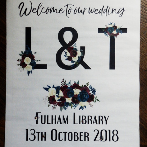 Library themed Wedding/Civil Partnership Order of Service Newspaper