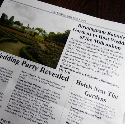 Wedding Invite Newspaper | Alternative Wedding Stationery Newspapers