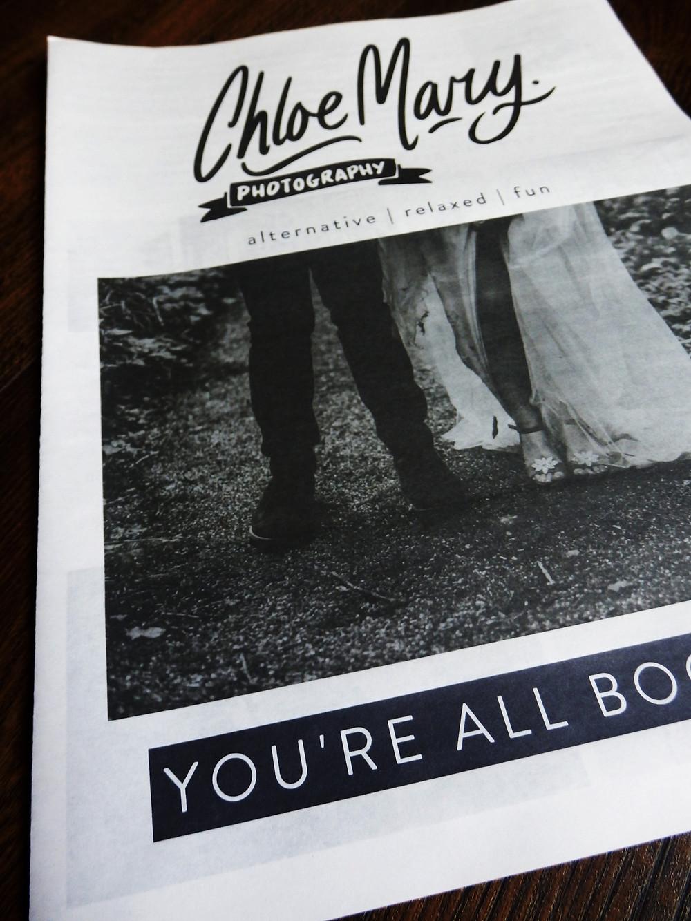 Chloe Mary Wedding Photography Marketing Newspaper